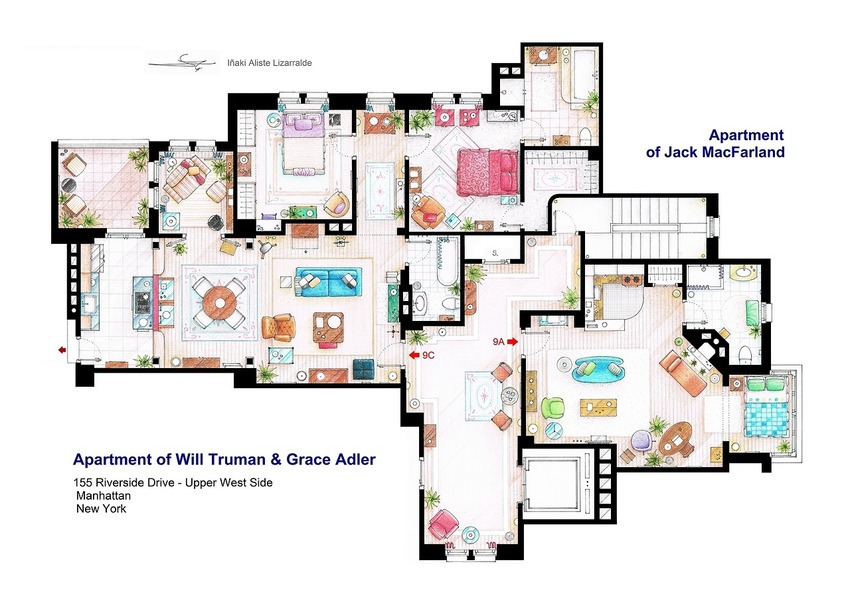 Will and Grace Apartments Jack 's Floor Plan