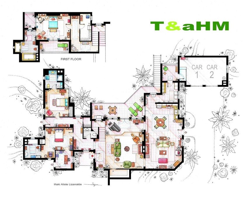 4wDIwQeTwo and a Half Men - Charlie's House Floor Plan