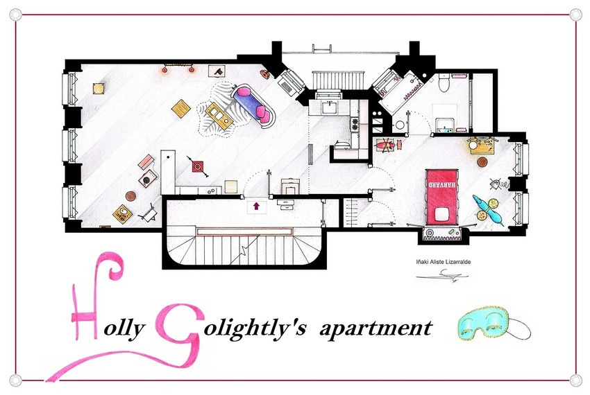 Breakfast at Tiffany's - Holly Golightly's Apartment Floor Plan