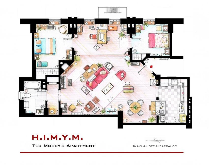 How I Met Your Mother - Ted's Apartment Floor Plan