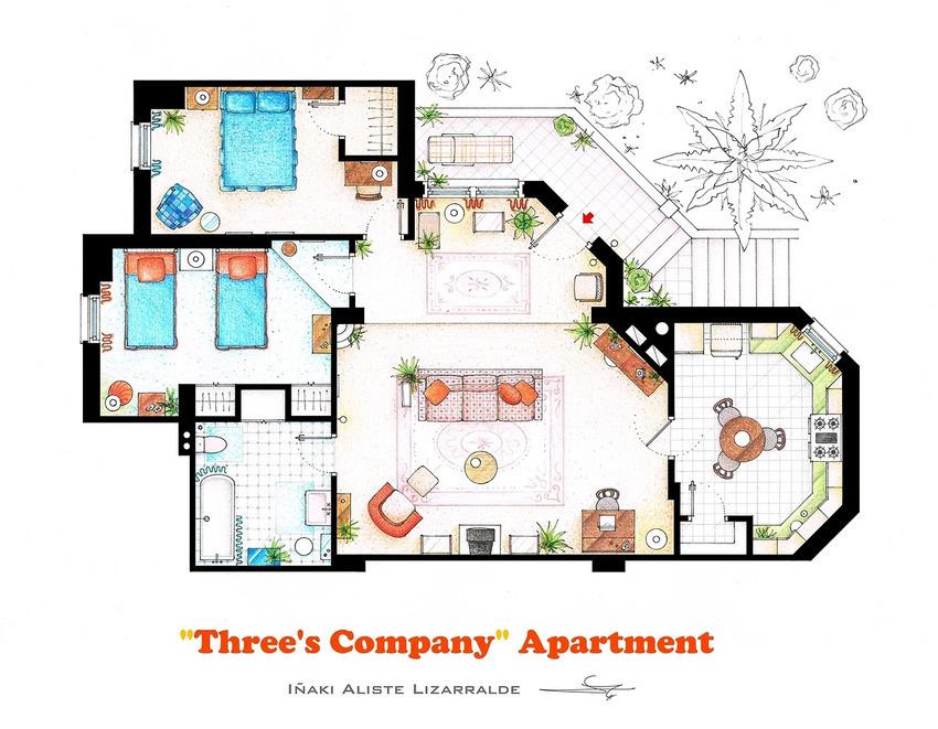 Three's Company House Floor Plan