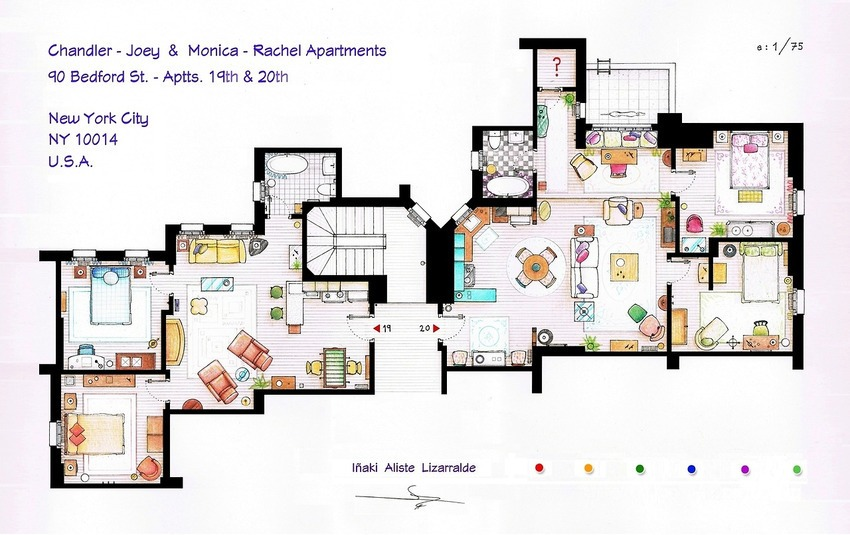 oo7lw3xFriends - Chandler-Joey & Monica-Rachel Apartments Floor Plan