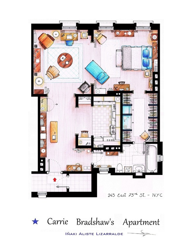 Sex and The City - Carrie Bradshaw's Apartment Floor Plan