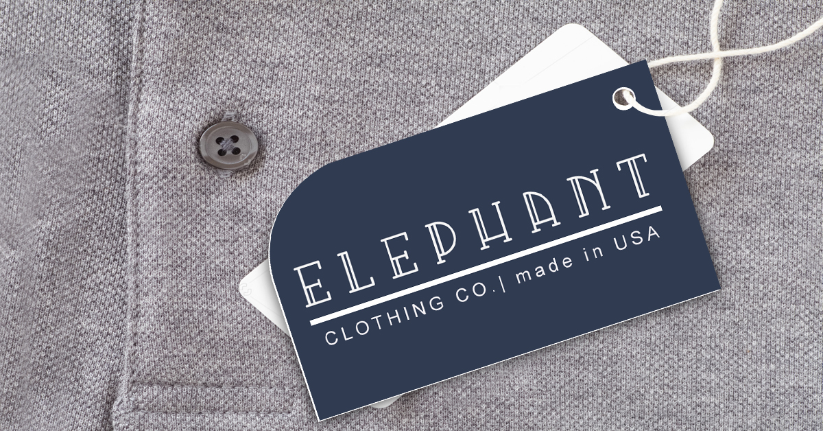 Elephant clothing hang tag