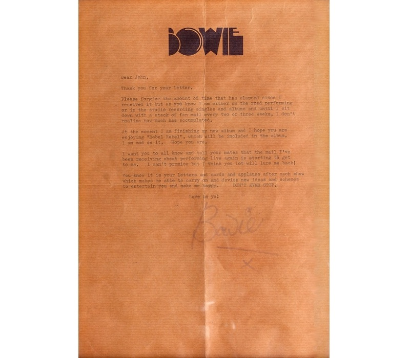 Personal Letterhead - David Bowie