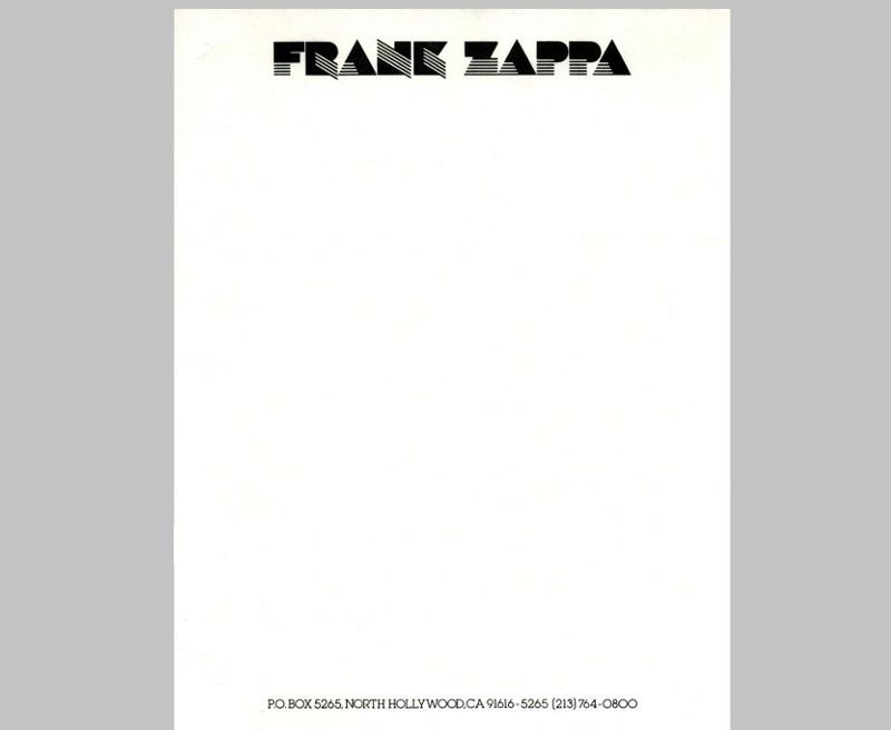 Personal Letterhead - Frank Zappa
