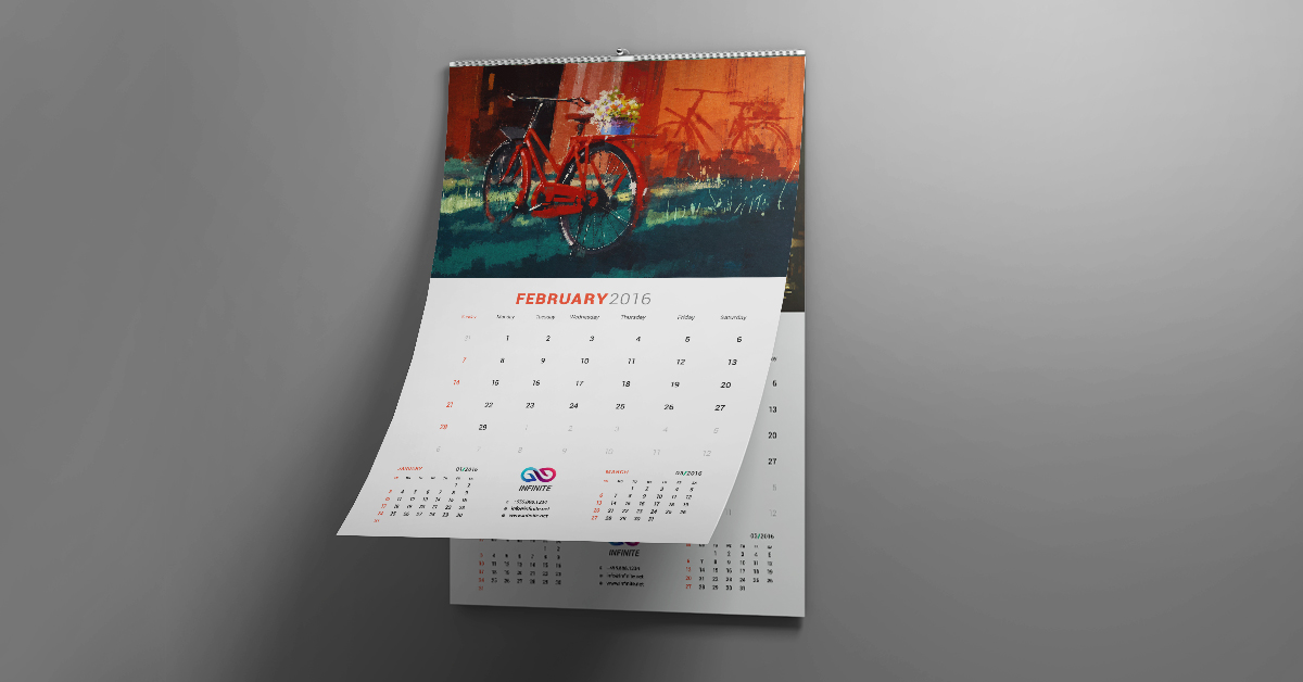 Wall calendar example with bike