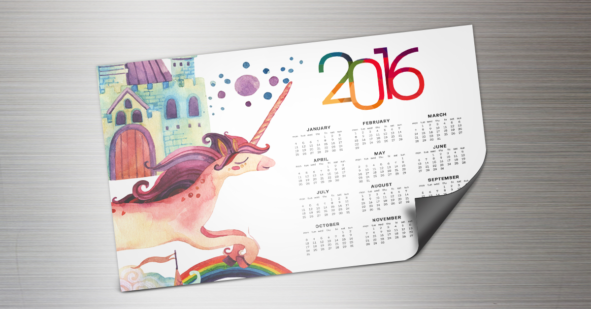 Magnet calendar with a unicorn