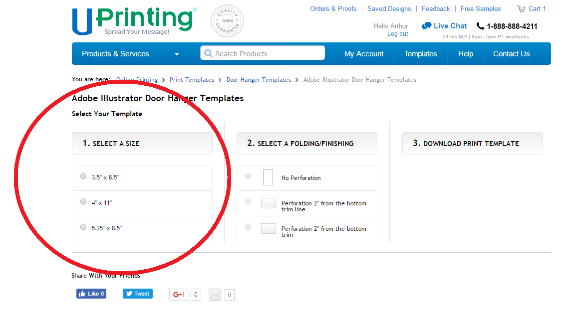 Using UPrinting Templates - Step Four : Select a Size