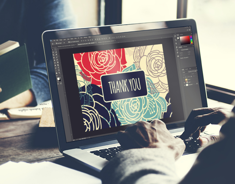 Editing thank you card