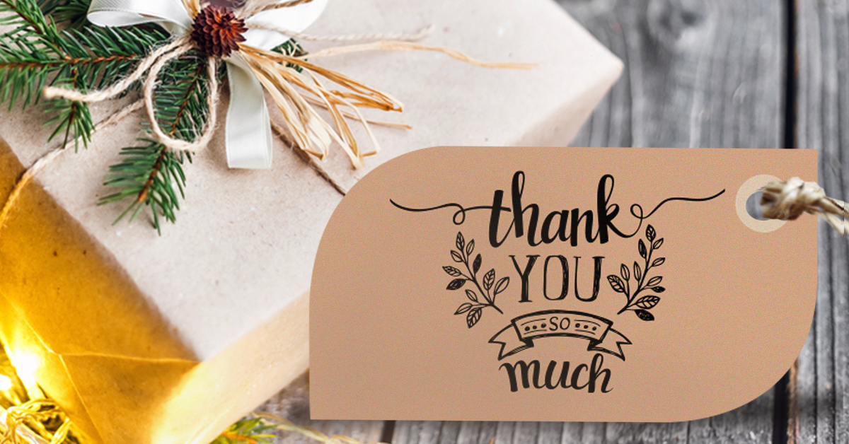 Alternative thank you card hang tag