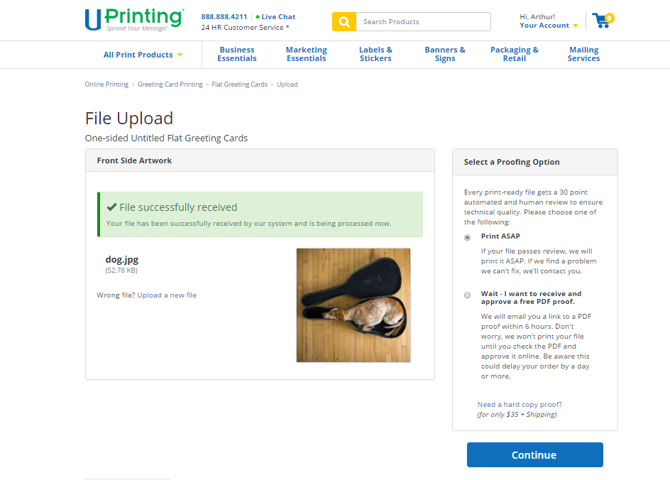 Redeeming your UPrinting Promo Code: Step 3, Option 1
