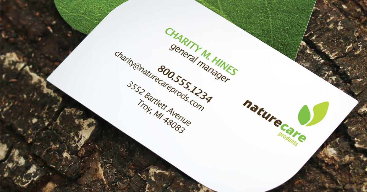 leaf shaped business card