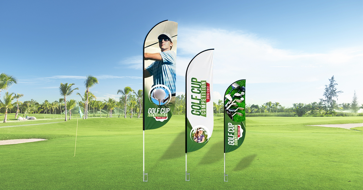 Feather flags - golf tournament ads